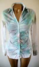 Designer Stretch Cotton White Multi Muted Pattern Ruched Fitted Shirt Blouse 8