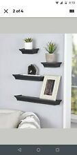 4 PC Contemporary Floating Wall Shelves Set Home Decor Black 4 different sizes