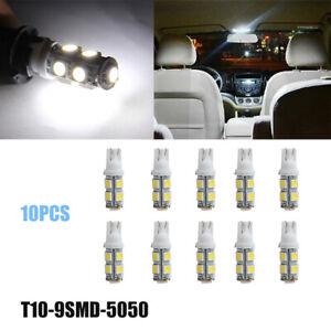 10pcs Super White T10 9SMD 5050 LED Light bulbs W5W 2825 168 194 For Map Light