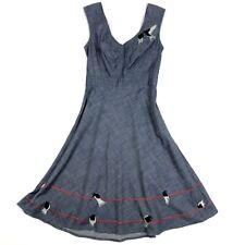 eShakti Chambray Dress Womens S Embroidered Birds Blue Denim A Line Sleeveless