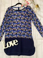 White Stuff Size 12 blue knitted long tunic thin cosy jumper tunic cotton blend