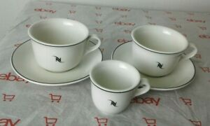 (3) Nespresso Porcelain Logo Cups and (2) Saucers Made in Germany