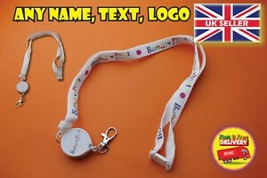 Personalised lanyard retractable with any name logo photo