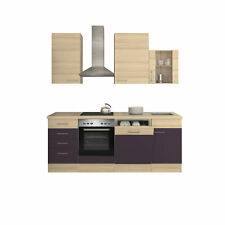 Küchenblock mit E Geräten Küchenzeile Einbauküche Elektrogeräte 220 cm aubergine