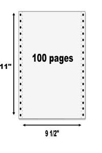 100 Continuous Computer Dot Matrix Tractor Feed Printer Paper 9 1/2 x 11