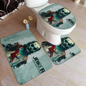 Rebel Joker Clown S/3 Non-slip U Pedestal Rug Lid Toilet Seat Cover Bath Mat Set