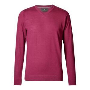 Marks&Spencer T303535M M&S Cerise Extra Fine Merino Wool V Neck Jumper £35