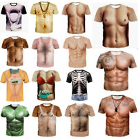 Women/Men's Funny Human Skeleton Muscle 3D Print Short Sleeve Casual Graphic Tee