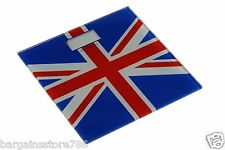 Cool Britannia Union Jack Bathroom Scale Tempered Glass Digital Weight Display
