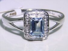 ART DECO 9CT WHITE GOLD BAGUETTE .55CT AQUAMARINE 0.01CT DIAMOND CLUSTER RING