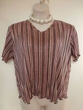 Unbranded ribbed textured pinks browns striped top Size 20