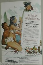 1948 American President Lines advertisement, Girl in Bikini, Stanley Galli art