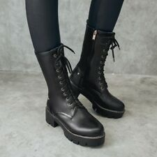 Women Retro Leather Slide Zipper Lace Up Block Heels Punk Mid-calf Boots Shoes