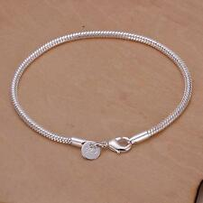 Fashion WOMEN cute Silver Plated 3MM Snake chain Bracelet for DIY Beads jewelry