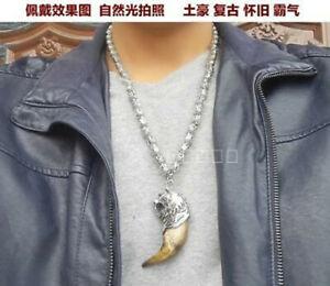 Wild teeth Tibet silver tiger Amulet Pendant,Buddha head beads necklace