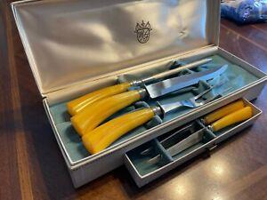 Sheffield/Washington Forge Carving Set w/Steak Knives Bakelite Handles Orig Box