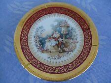 "vintage limoges porcelain wall plate and hanger rehausse main France 8 1/2"""