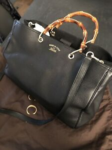 GUCCI BAMBOO LARGE NERO Pelle Tote Bag