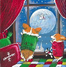 4x4 Print Of Painting Ryta Pembroke Welsh Corgi Angel Xmas Whimsical Gift Folk