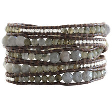 Chan Luu Graduated Labradorite Sterling Silver Brown Leather Wrap Bracelet RARE!