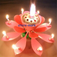 Party Candle Pink Rotatable Romantic Beautiful Songs Blossom Lotus Flowers