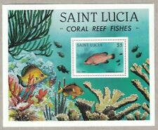 1983 SAINT LUCIA CORAL REEF FISHES SOUVENIR STAMP SHEET MNH
