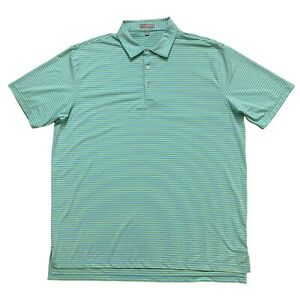 Peter Millar Summer Comfort Short Sleeve Golf Polo Shirt Green Striped Mens 2XL