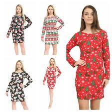 Women Xmas Santa Snowman Xmas Tree Ladies Christmas Costume Slim Fit Midi Dress