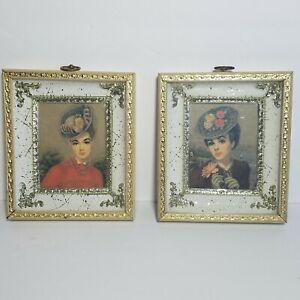 Lot 2 Vintage Victorian Lady print Huldah Framed w/Glass 6.5x7.5 Picture regency