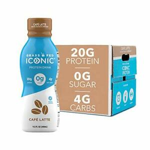 ICONIC Beverages Protein Drinks Cafe Latte Low Carb High Protein 20G Protein ...