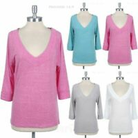 Women's Junior Plus Size V Neck 3/4 Sleeve Top T Shirt Casual Comfortable