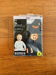 Bonds Baby Halloween Pumpkin Black Orange Zip Wondersuit Size 00 BNIP
