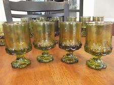 4 Tiffin Franciscan Madeira OLIVE GREEN Glass drinking Glasses Cups vintage