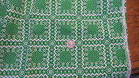 """Vintage Cotton Fabric WHITE FLORAL PATCHWORK ON BRIGHT GREEN 1 Yd/45"""""""