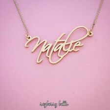 Necklace with my Name in Solid 14k Gold Real Gold Personalized Name tag chain