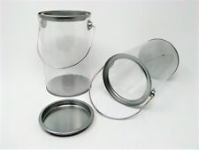 """2 Celebrate It Clear Plastic Canister Lidded Containers Gift Craft Pails 6"""" x 4"""""""