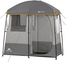 Camping Shower Tent Heater Solar Hot Water Portable Utility Shelter 2 Room Tent