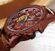 Automatik Uhr Herrenuhr Armbanduhr Braun Mond Sonnen 24 Std. Anzeige Leder CH03