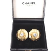 Vintage Chanel Eight CC Logo Large Button Round Earrings.NFV4504