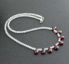 Blancos Topacio con Rhodolite Cadena de Piedra Preciosa Desinger Collar 44CM
