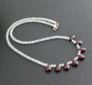 White Topaz With Rhodolite Necklace Precious Stone Designer 17 5/16in