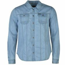 Denim Long Sleeve Button-Front Casual Shirts for Men