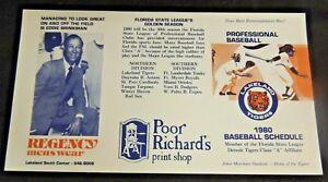 Vintage 1980 MLB Baseball Schedule Detroit Tigers Class A Affiliate Unfolded FL