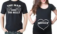 Pregnancy Couple T-shirts Man Behind The Belly and Belly True Maternity T-shirt
