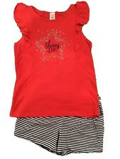 Euc Gymboree Shining Star Outfit Red Shirt Top Sz 8 Striped Navy Shorts Size 7-8