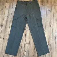 Tommy Bahama Pants 32x32 Olive Green Flat Front 100% Silk Cargo Pants
