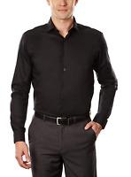 Kenneth Cole Reaction Mens Black Dress Shirt Slim Fit Spread Collar R15