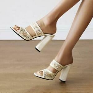 Womens Fashion Floral Lace Open Toe Block Heel Slip On Slipper Sandals Shoes SKG