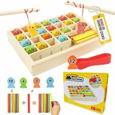 Wooden Fishing Games Math Counters Toy Toddlers & Kids - Educational Preschool M