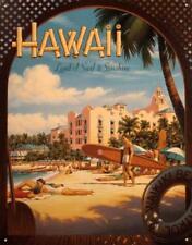 Hawaii Land of Surf & Sunshine Vintage Retro Tin Metal Sign 13 x 16in